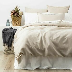 Renee Taylor Cavallo 100% French Linen Quilt Cover set- Natural