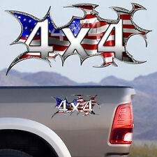 Set of two 4x4 FX4 Offroad American flag Truck Decal Sticker F-150 Chevy Dodge