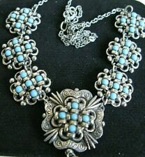 Vintage Native American Turquoise Beed Silver Tone Necklace