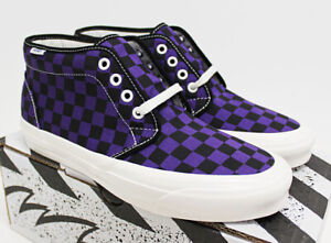 NIB VANS Men's OG Chukka LX Black Purple Checkerboard Canvas Sneakers Shoes