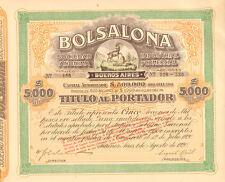 Bolsalona Industrial y Comercial > 1920 Buenos Aires Argentina bond certificate