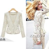 Women Lady Long Sleeve Floral Lace Crochet Frill Top Blazer Jacket White Black S