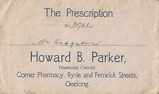 Howard Parker Pharmacy Chemist Geelong Victoria Australia prescription envelope