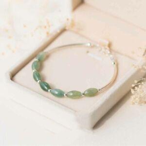 Sterling Silver Rhodium Green Jade Crystal Bead Bracelet Bangle Jewellery
