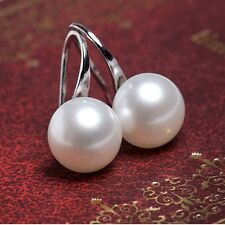Simulated Pearl Earrings. Silver Coloured. Hook Fastening Size 8mm Accross