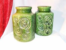 TWO Scheurich 'Jura' c.1971 'fossil' Vases 282-16 Art Pottery