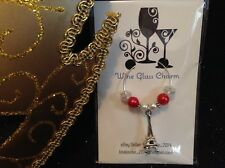 Wine Glass Charm - Single / Beaded - Eiffel Tower (Red / White)