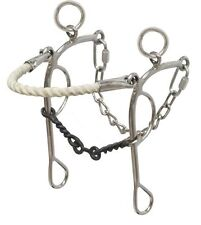Barrel Racing Combo Rope Nose Gag Bit Hackamore Dog Bone Mouth Horse Tack