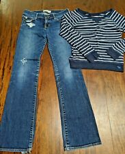 Abercrombie Girls Outfit L/S Stripe sweater S & Sz 12 Bootcut Jeans Blue White