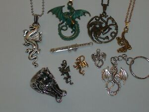 10 Pc. Dragon Necklace/Pendant/Keychain/Ring & Small Charm Jewelry Lot