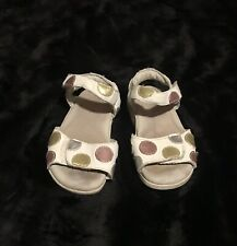 Pediped Flex White Polka Dot Leather Sandal Shoes 24