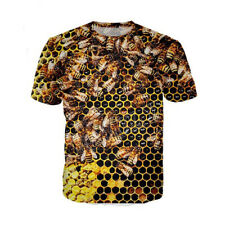 Women Men T Shirt 3D Print Short Sleeve Tee Tops Honeycomb Bee Casual Big size