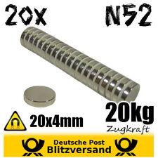 20x Neodym Magnete N52 D20x4mm 20x4mm Magneten starke Scheibe Scheiben Halter