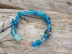 Aqua Blue Heady Glass Wire Wrapped Bangle Bracelet Wrap Boho Copper Chunky Bulky