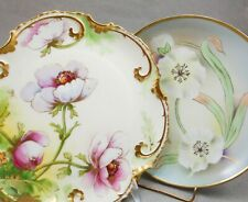 New ListingTwo Vintage Plates Limoges France Coronet Weimar Germany Hand Painted Flowers