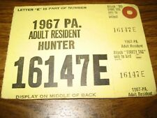 Pennsylvania Adult Resident Hunting License, Complete, 1967