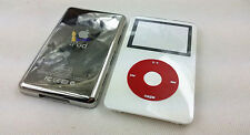 new white front faceplate back case housng red clickwheel fr ipod 5th video 30gb