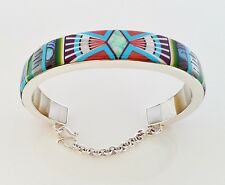 """AWESOME HANDMADE MULTICOLOR TURQUOISE OPAL INLAY .925 SILVER CUFF BRACELET SZ 6"""""""
