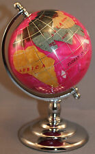 Genuine Multi-Gemstone Desktop Globe Chrome Base Rose Red Globe Free S & H