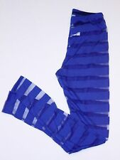 MILKYWAY Semi Sheer STRIPED Leggings Footless Blue SMALL Free Shipping