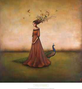 Empty Nest Invocation by Duy Huynh Art Print Woman Fantasy Birds Poster 26x28