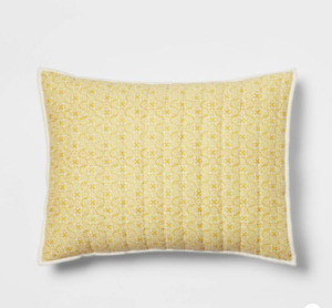 Pick Stitch Medallion Quilt Pillow Sham Yellow - Threshold™ Set of 2
