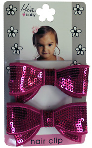 Mia Baby + Girl, Sequins Bows Hair Clips, for Girls, Kids 2pcs