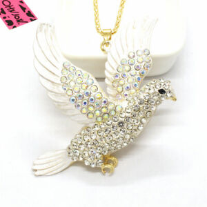 Hot Betsey Johnson Cute White Eagle Animal Crystal Pendant Chain Necklace