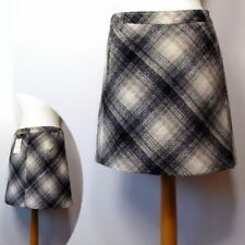 Wool Blend Check A-line Casual Skirts for Women