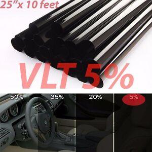 "Uncut Window Tint Roll 5% VLT 25 "" 10 ft Feet Home Commercial Office Auto Film"