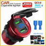 12/24V Quick Charge QC 3.0 Dual USB Car Charger Socket Power Outlet For Car Boat