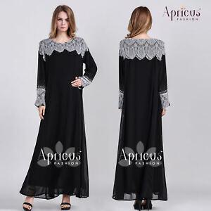 Kaftan Muslimah Lace Long Sleeve Chiffon Black Maxi Gown Abaya Dress US 42 44 46