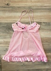 Shelbys of Hollywood Womens Sheer Top with Ruffle Bottom Lingerie Size Medium