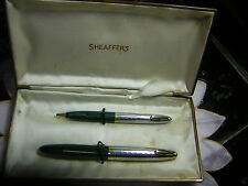Vintage Sheaffer Green/Silver Gold Cap Dolphin/Tuck Fountain  Ball Point Pen Box