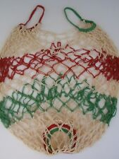 Vintage Handcrafted Macrame Tote Bag Hippy Boho Peasant Market Green Red White