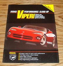 Original 1992 Dodge Viper Performance Close-Up Sales Brochure 92