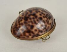 Cowrie Shell Trinket Box Brass Hinged Seashell Jewelry Egg