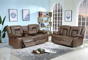 New Real Genuine Leather Recliner Modern Sofa Set Brandy Brown 3 + 2 + 1 Seater