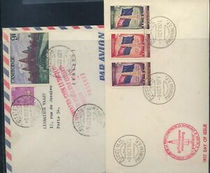 Cambodia   2 nice  franking  covers