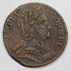 1785 M 1-E R-4 Connecticut Colonial Copper Coin