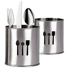 Contenitore Cilindrico Porta Posate Scola Acciaio Inox PortaPosate Cucina dfh