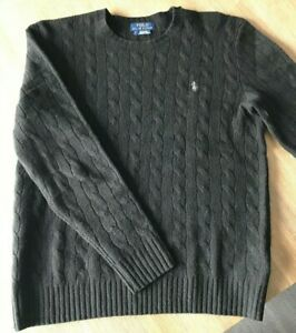 Polo Ralph Lauren black wool / cashmere cable knit sweater - Size small