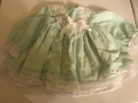 "Beautiful Green Dress w/ white lace & ribbons w/ pants for 20-24"" Doll!"
