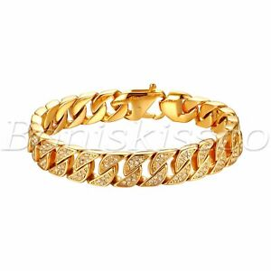 Mens Fashion Gold Tone Stainless Steel Rhinestone Cuban Curb Link Chain Bracelet