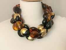 Multi Strand Monies Style Amber, Black & Gold Leaf Beads Acrylic Necklace