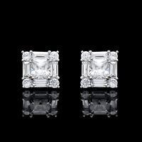 2.00CT Princess Baguette Round Cut Created Diamond Stud Earrings 14K White Gold