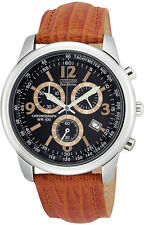 NEW Citizen AT0120-11E Mens Watch Stainless Eco-Drive Chronograph Leather 5YrWty