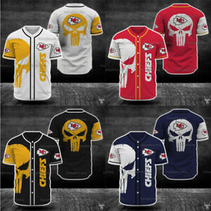Kansas City Chiefs Mens Baseball Shirts Soft Button-Down Tee Tops Uniforms S-5XL