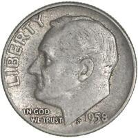 1958 Roosevelt Dime 90% Silver Very Fine VF