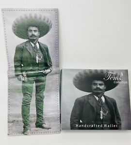 Men's Bi-Fold Leather Wallet Emiliano Zapata Mexican Revoultion Print